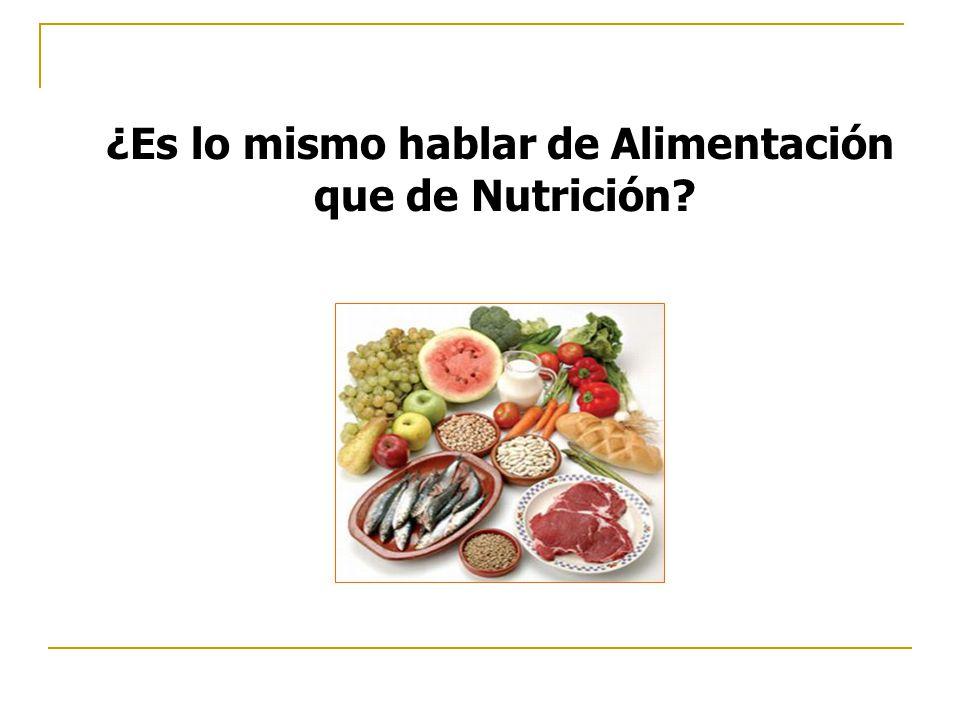¿Es lo mismo hablar de Alimentación que de Nutrición?