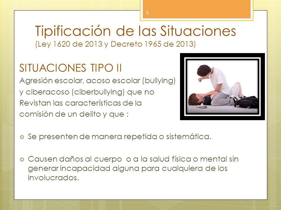 Tipificación de las Situaciones (Ley 1620 de 2013 y Decreto 1965 de 2013) 3 SITUACIONES TIPO II Agresión escolar, acoso escolar (bullying) y ciberacos