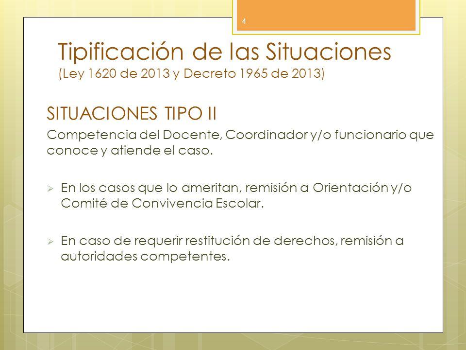 Tipificación de las Situaciones (Ley 1620 de 2013 y Decreto 1965 de 2013) 4 SITUACIONES TIPO II Competencia del Docente, Coordinador y/o funcionario q