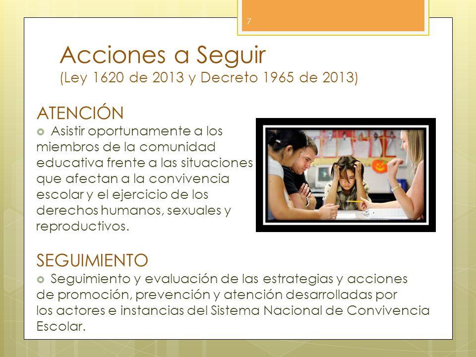 Acciones a Seguir (Ley 1620 de 2013 y Decreto 1965 de 2013) 7 ATENCIÓN Asistir oportunamente a los miembros de la comunidad educativa frente a las sit