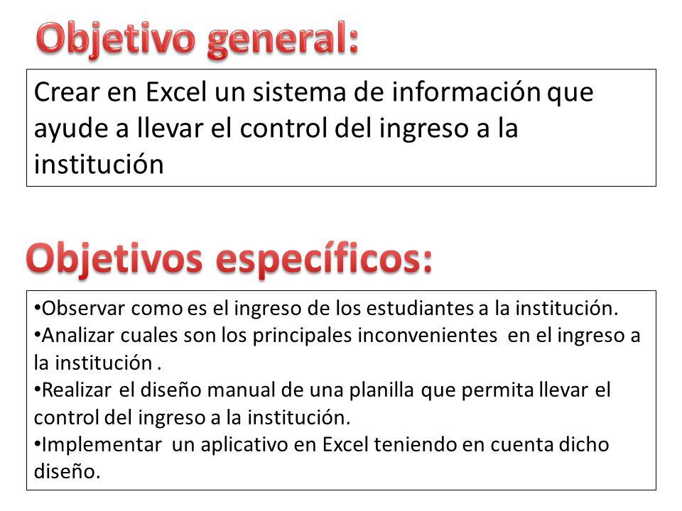 Crear en Excel un sistema de información que ayude a llevar el control del ingreso a la institución Observar como es el ingreso de los estudiantes a l