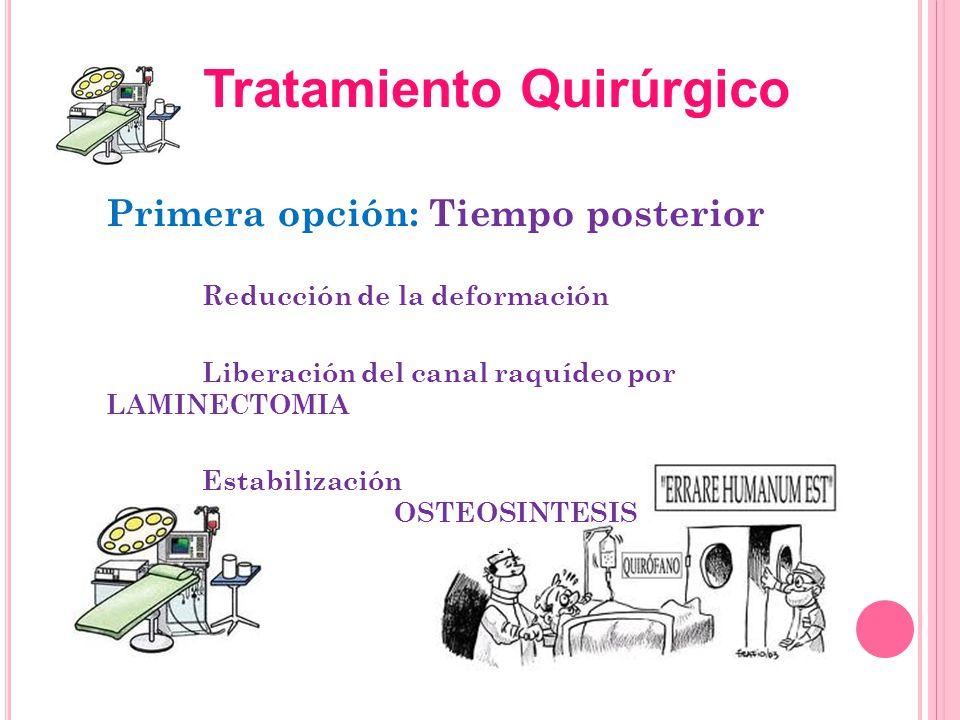 Primera opción: Tiempo posterior Reducción de la deformación Liberación del canal raquídeo por LAMINECTOMIA Estabilización OSTEOSINTESIS ± INJERTO Tra
