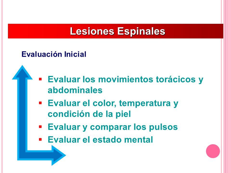 Lesiones Espinales Lesiones Espinales Evaluación Inicial Evaluar los movimientos torácicos y abdominales Evaluar el color, temperatura y condición de la piel Evaluar y comparar los pulsos Evaluar el estado mental