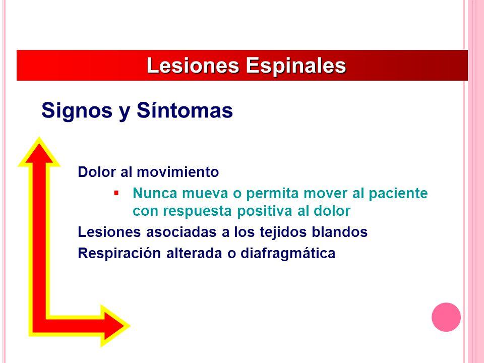 Dolor al movimiento Nunca mueva o permita mover al paciente con respuesta positiva al dolor Lesiones asociadas a los tejidos blandos Respiración alterada o diafragmática Lesiones Espinales Lesiones Espinales Signos y Síntomas