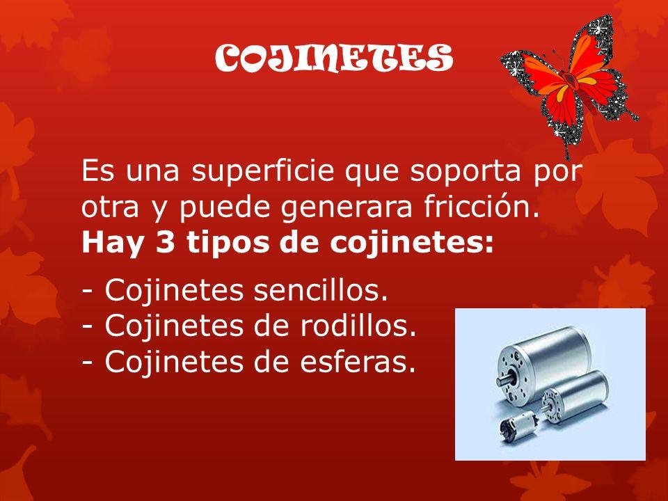 COJINETES Es una superficie que soporta por otra y puede generara fricción. Hay 3 tipos de cojinetes: - Cojinetes sencillos. - Cojinetes de rodillos.