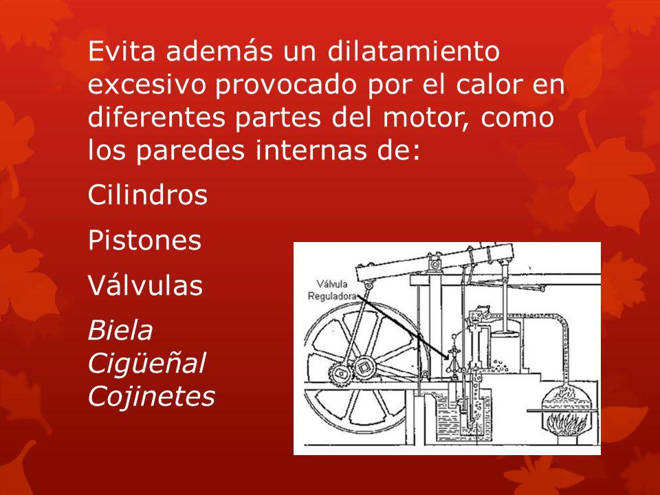 Evita además un dilatamiento excesivo provocado por el calor en diferentes partes del motor, como los paredes internas de: Cilindros Pistones Válvulas Biela Cigüeñal Cojinetes