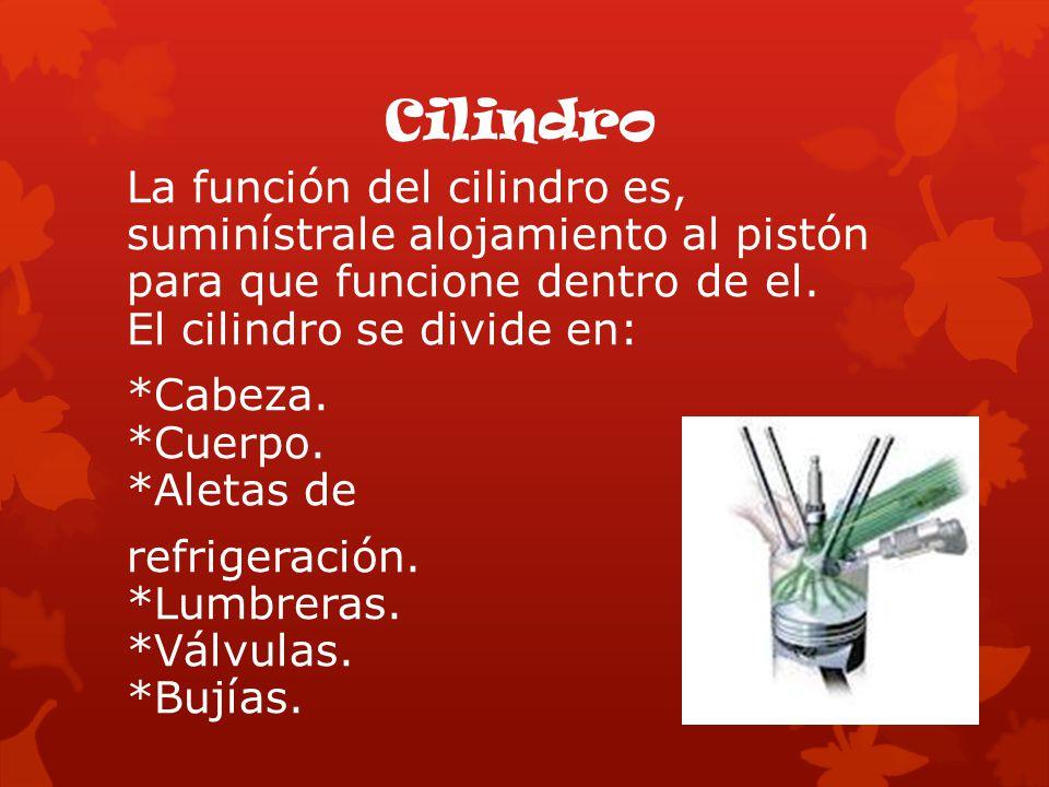 La función del cilindro es, suminístrale alojamiento al pistón para que funcione dentro de el. El cilindro se divide en: *Cabeza. *Cuerpo. *Aletas de