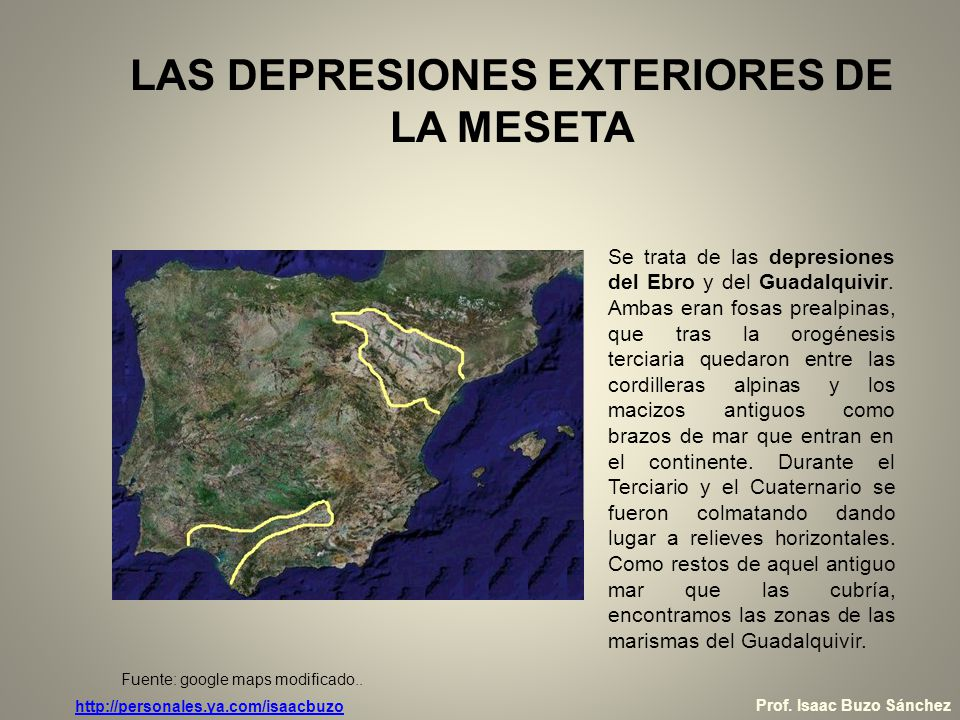 LAS DEPRESIONES EXTERIORES DE LA MESETA Depresión del Ebro -Es paralela a los Pirineos y se encuentra encerrada por estos, el Sistema Ibérico y la Cordillera Costero-Catalana.