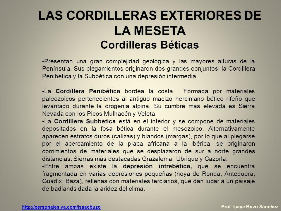 LAS CORDILLERAS EXTERIORES DE LA MESETA Cordilleras Béticas -Presentan una gran complejidad geológica y las mayores alturas de la Península. Sus plega