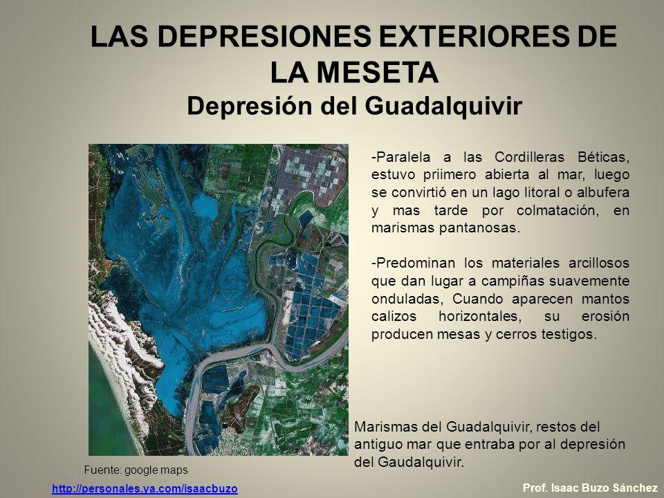 LAS DEPRESIONES EXTERIORES DE LA MESETA Depresión del Guadalquivir -Paralela a las Cordilleras Béticas, estuvo priimero abierta al mar, luego se convi