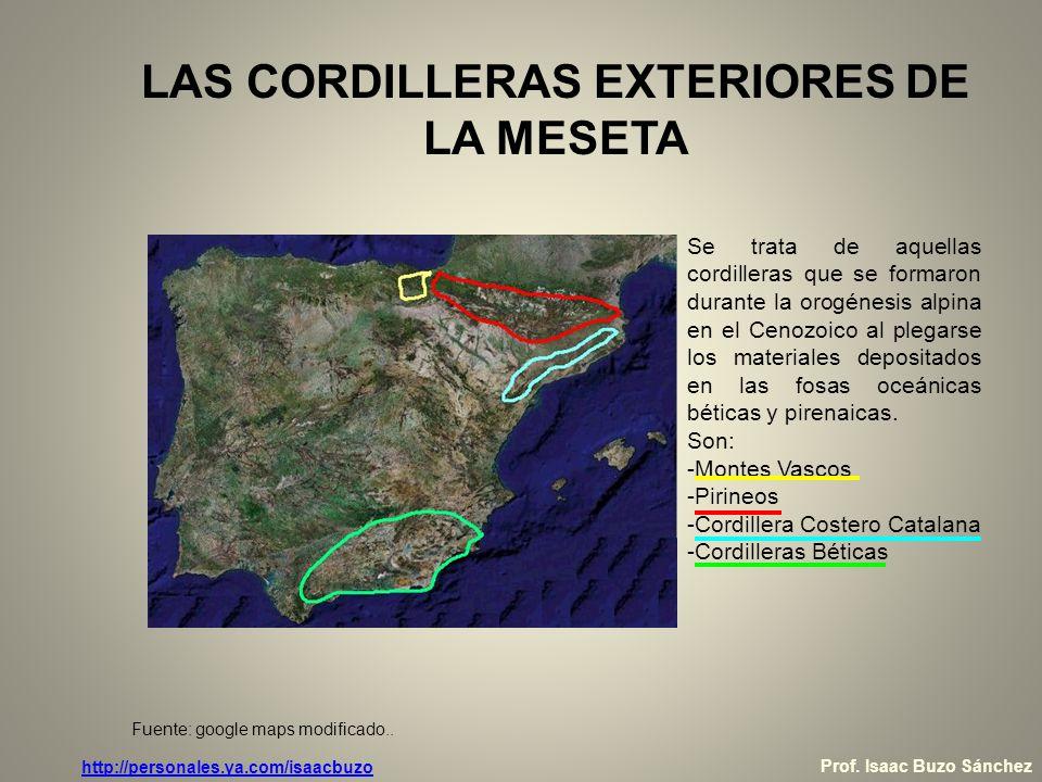 LAS CORDILLERAS EXTERIORES DE LA MESETA Los Pirineos Los Pirineos presentan una estructura compleja: - La zona axial es de roquedo paleozoico, perteneciente a un antiguo macizo herciniano rejuvenecido (Aquitania) en la orogénesis alpina.