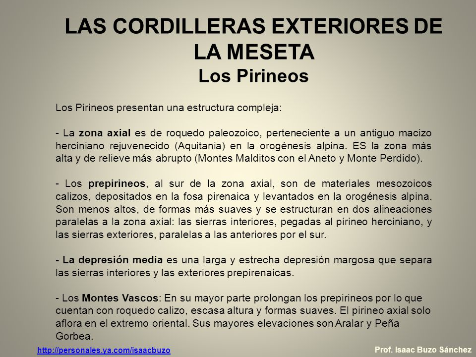 LAS CORDILLERAS EXTERIORES DE LA MESETA Los Pirineos Fuente:http://www.cprcalahorra.org/alfaro/Geografi.htm Prof.