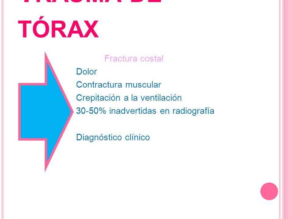 T RAUMA DE TÓRAX Fractura costal Dolor Contractura muscular Crepitación a la ventilación 30-50% inadvertidas en radiografía Diagnóstico clínico