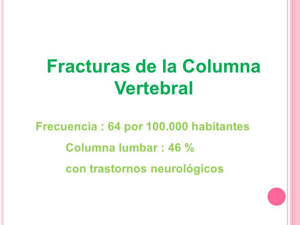 Fracturas de la Columna Vertebral Frecuencia : 64 por 100.000 habitantes Columna lumbar : 46 % con trastornos neurológicos : 7 % (mortalidad 4 %)