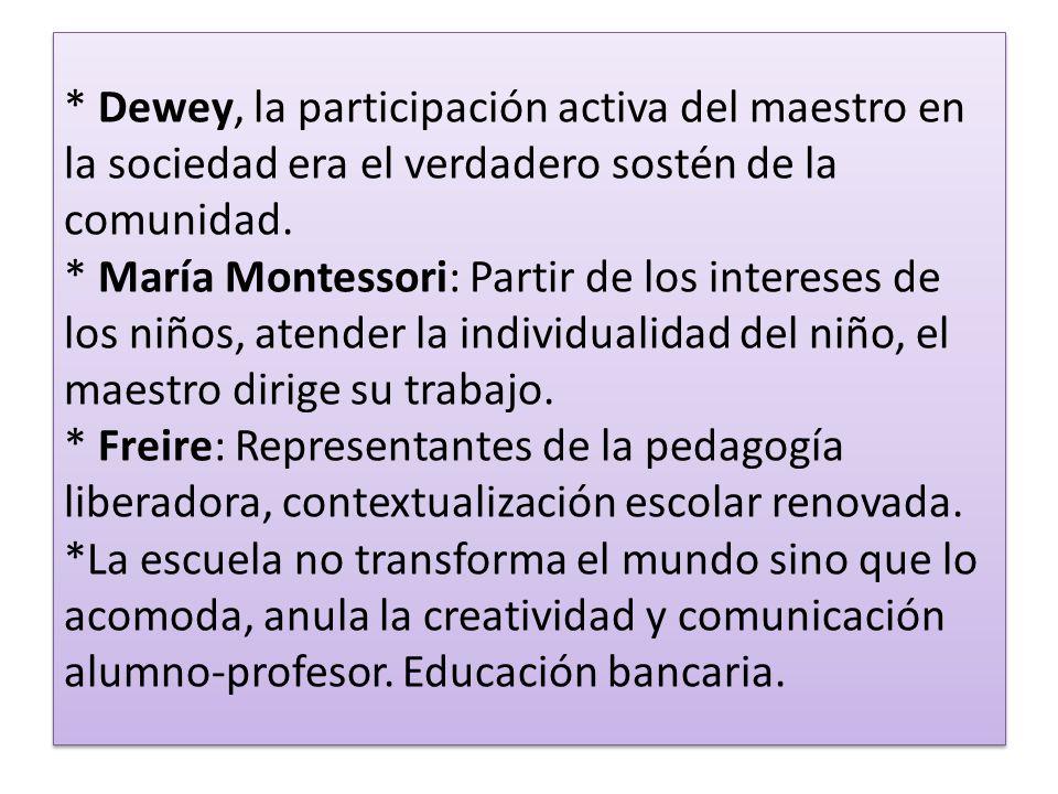 * Dewey, la participación activa del maestro en la sociedad era el verdadero sostén de la comunidad. * María Montessori: Partir de los intereses de lo