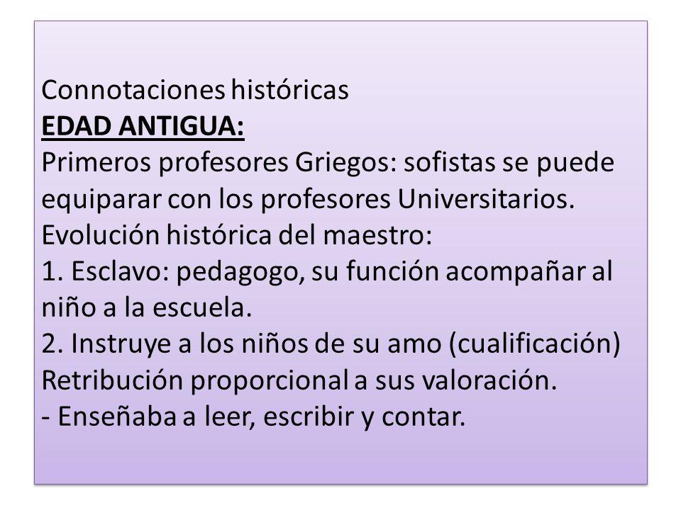 Connotaciones históricas EDAD ANTIGUA: Primeros profesores Griegos: sofistas se puede equiparar con los profesores Universitarios. Evolución histórica
