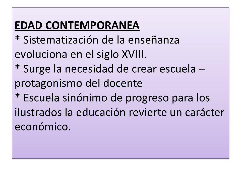 EDAD CONTEMPORANEA * Sistematización de la enseñanza evoluciona en el siglo XVIII. * Surge la necesidad de crear escuela – protagonismo del docente *