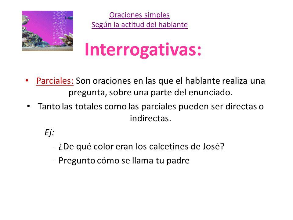 Interrogativas: Parciales: Son oraciones en las que el hablante realiza una pregunta, sobre una parte del enunciado. Tanto las totales como las parcia