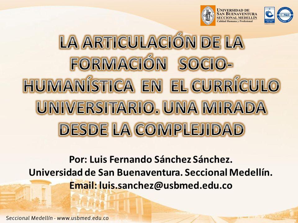 Por: Luis Fernando Sánchez Sánchez. Universidad de San Buenaventura.