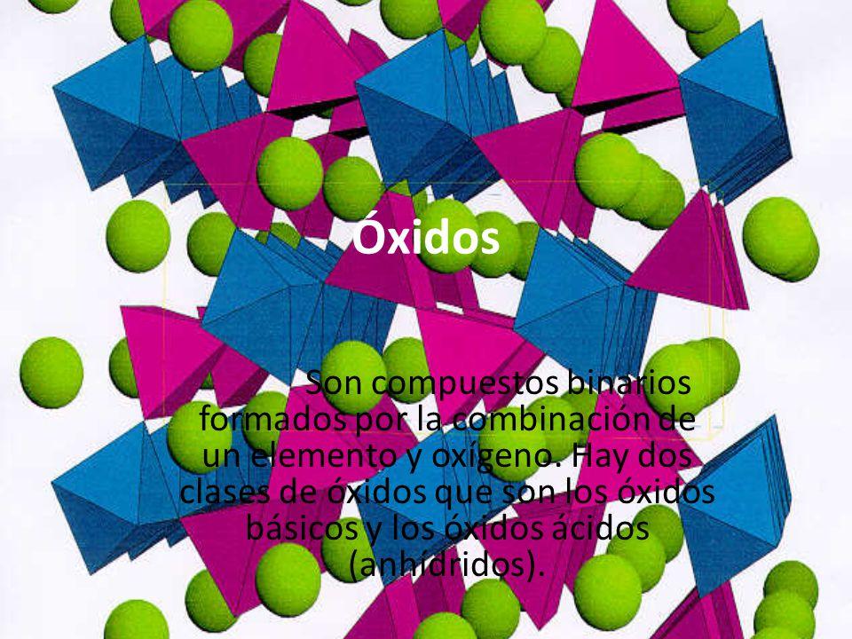 Óxidos Son compuestos binarios formados por la combinación de un elemento y oxígeno. Hay dos clases de óxidos que son los óxidos básicos y los óxidos