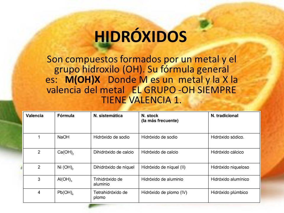 HIDRÓXIDOS Son compuestos formados por un metal y el grupo hidroxilo (OH). Su fórmula general es: M(OH)X Donde M es un metal y la X la valencia del me