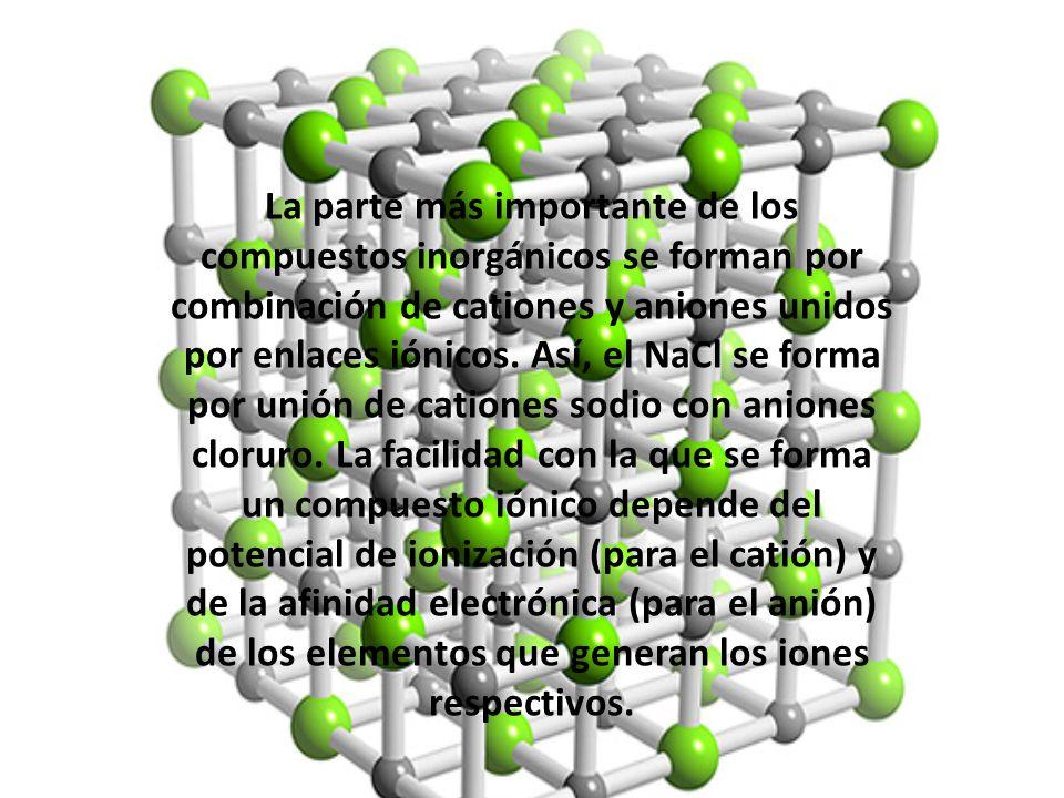La parte más importante de los compuestos inorgánicos se forman por combinación de cationes y aniones unidos por enlaces iónicos. Así, el NaCl se form