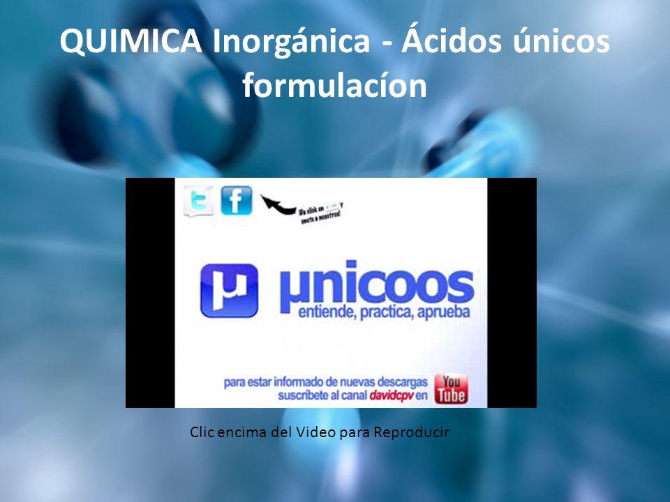 QUIMICA Inorgánica - Ácidos únicos formulacíon Clic encima del Video para Reproducir