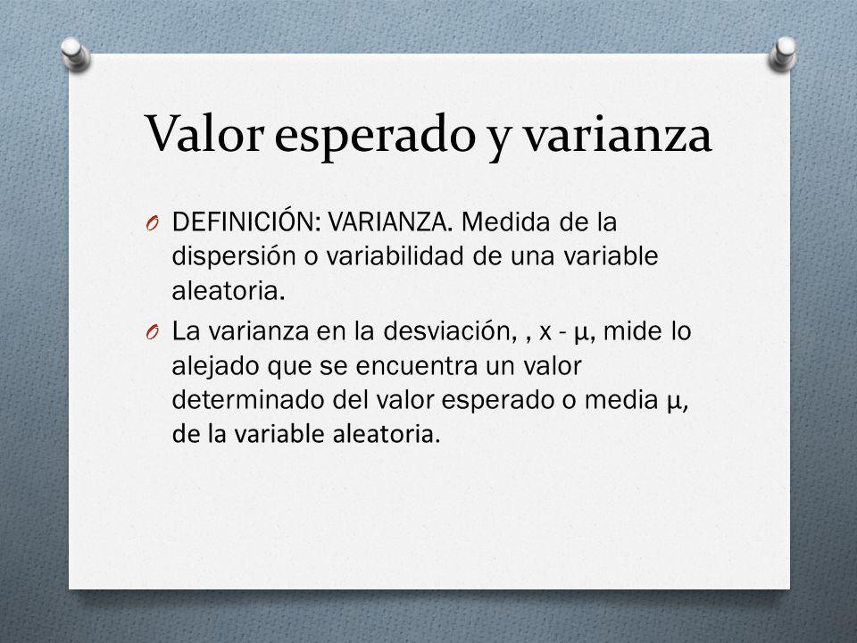 Valor esperado y varianza O DEFINICIÓN: VARIANZA. Medida de la dispersión o variabilidad de una variable aleatoria. O La varianza en la desviación,, x