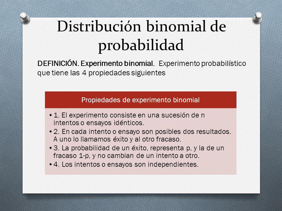Distribución binomial de probabilidad Propiedades de experimento binomial 1. El experimento consiste en una sucesión de n intentos o ensayos idénticos