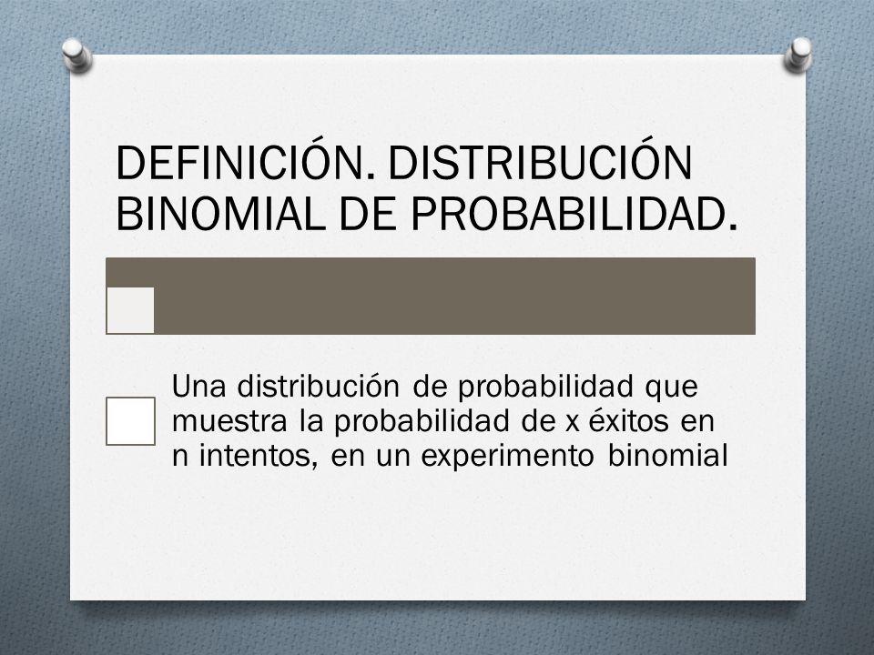 DEFINICIÓN. DISTRIBUCIÓN BINOMIAL DE PROBABILIDAD. Una distribución de probabilidad que muestra la probabilidad de x éxitos en n intentos, en un exper