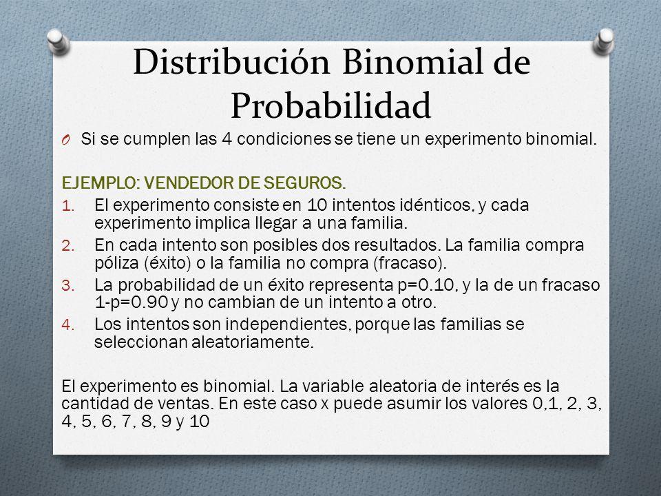 Distribución Binomial de Probabilidad O Si se cumplen las 4 condiciones se tiene un experimento binomial. EJEMPLO: VENDEDOR DE SEGUROS. 1. El experime