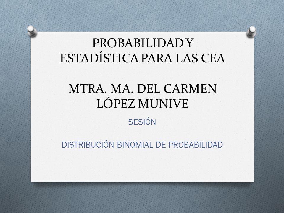 PROBABILIDAD Y ESTADÍSTICA PARA LAS CEA MTRA. MA. DEL CARMEN LÓPEZ MUNIVE SESIÓN DISTRIBUCIÓN BINOMIAL DE PROBABILIDAD