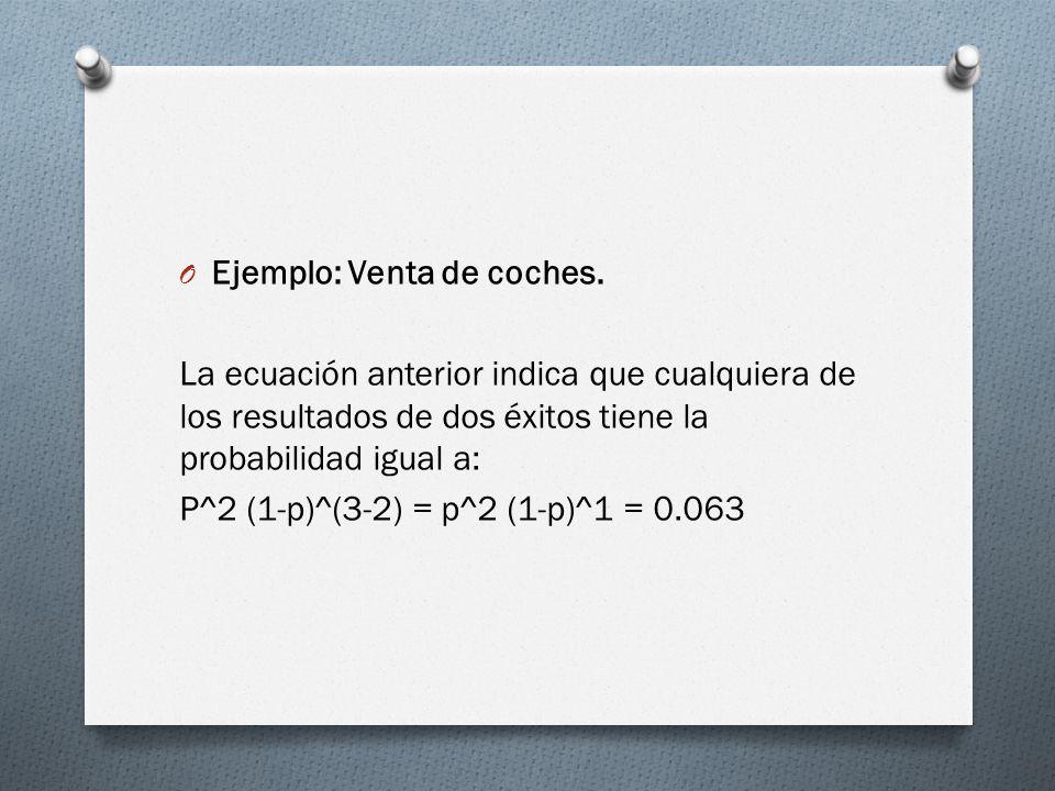 O Ejemplo: Venta de coches. La ecuación anterior indica que cualquiera de los resultados de dos éxitos tiene la probabilidad igual a: P^2 (1-p)^(3-2)