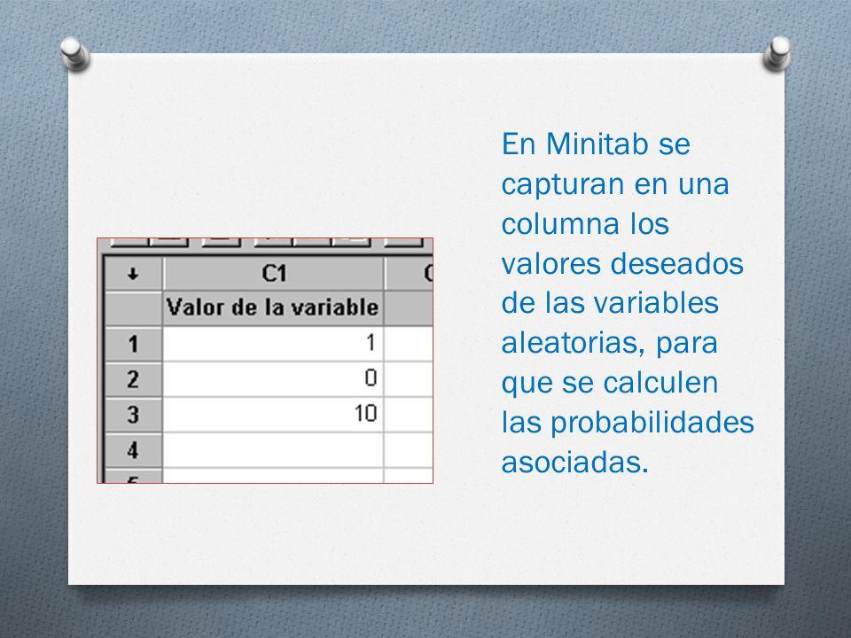 En Minitab se capturan en una columna los valores deseados de las variables aleatorias, para que se calculen las probabilidades asociadas.