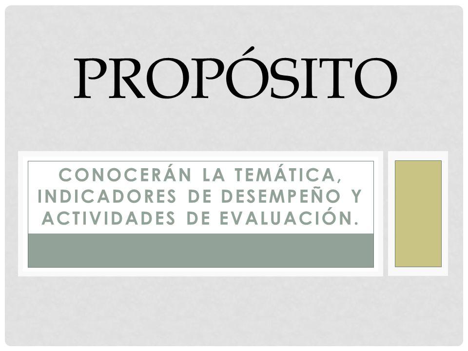 CONOCERÁN LA TEMÁTICA, INDICADORES DE DESEMPEÑO Y ACTIVIDADES DE EVALUACIÓN. PROPÓSITO