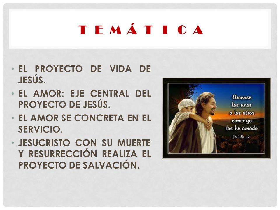 EL PROYECTO DE VIDA DE JESÚS. EL AMOR: EJE CENTRAL DEL PROYECTO DE JESÚS. EL AMOR SE CONCRETA EN EL SERVICIO. JESUCRISTO CON SU MUERTE Y RESURRECCIÓN