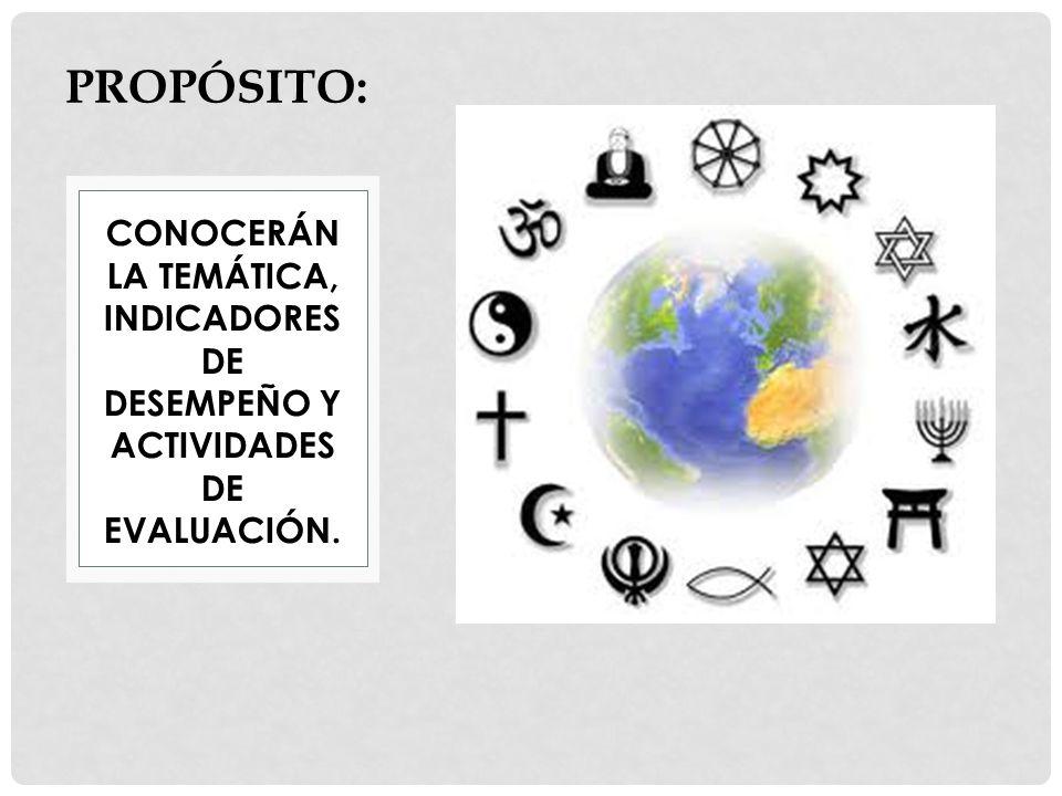 CONOCERÁN LA TEMÁTICA, INDICADORES DE DESEMPEÑO Y ACTIVIDADES DE EVALUACIÓN. PROPÓSITO: