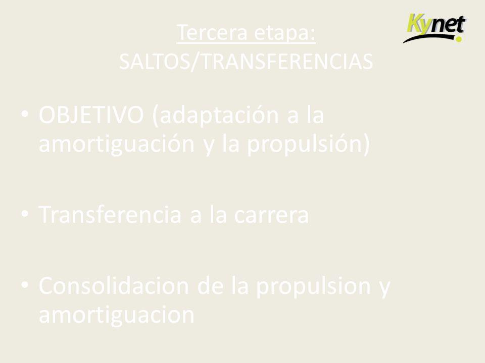 Tercera etapa: SALTOS/TRANSFERENCIAS OBJETIVO (adaptación a la amortiguación y la propulsión) Transferencia a la carrera Consolidacion de la propulsio