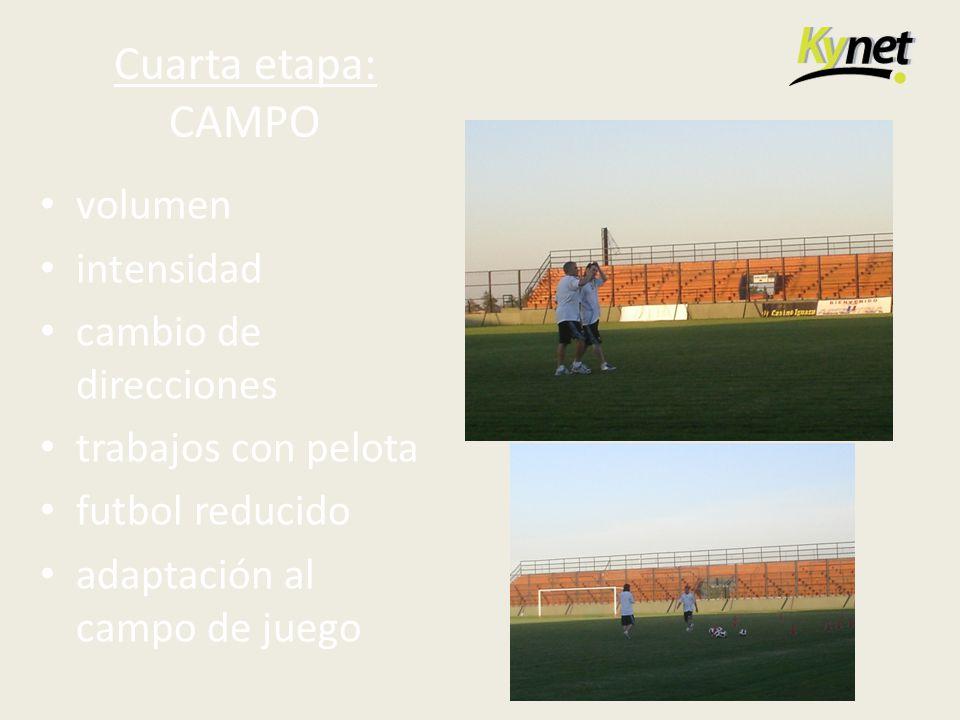 Cuarta etapa: CAMPO volumen intensidad cambio de direcciones trabajos con pelota futbol reducido adaptación al campo de juego