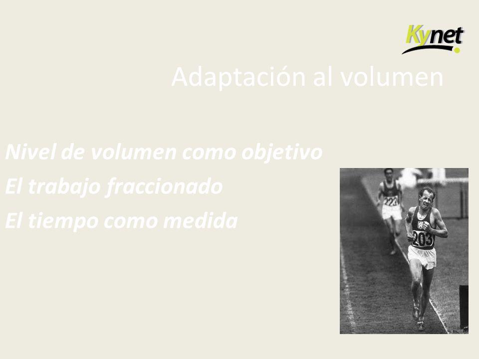 Adaptación al volumen Nivel de volumen como objetivo El trabajo fraccionado El tiempo como medida