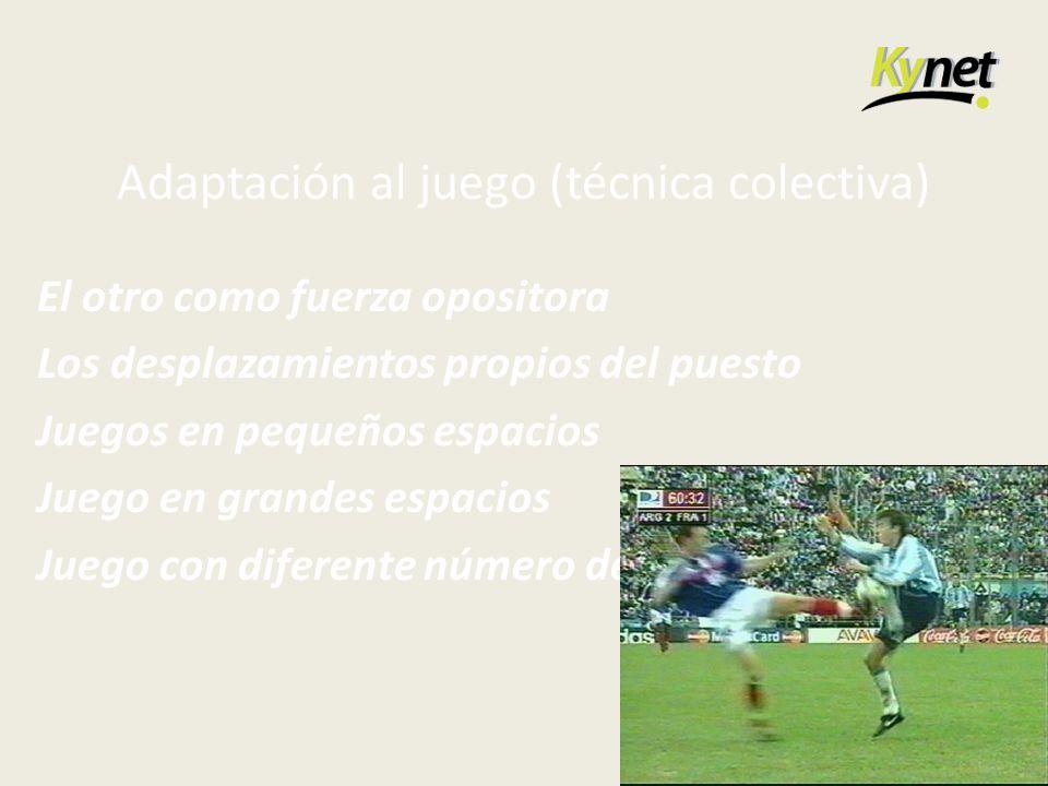 Adaptación al juego (técnica colectiva) El otro como fuerza opositora Los desplazamientos propios del puesto Juegos en pequeños espacios Juego en gran
