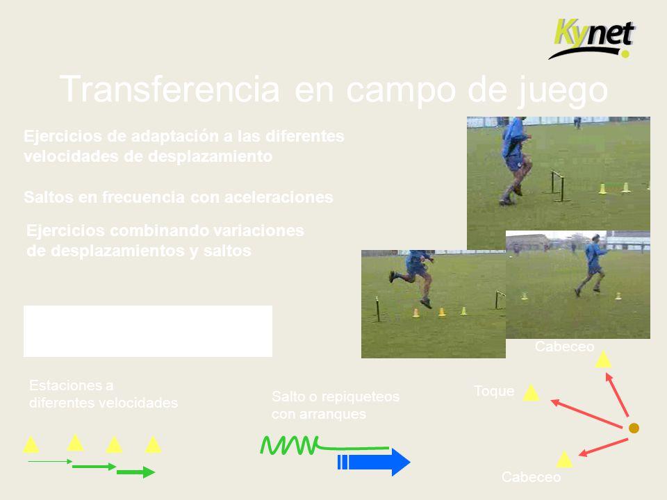 Transferencia en campo de juego Ejercicios de adaptación a las diferentes velocidades de desplazamiento Saltos en frecuencia con aceleraciones Ejercic