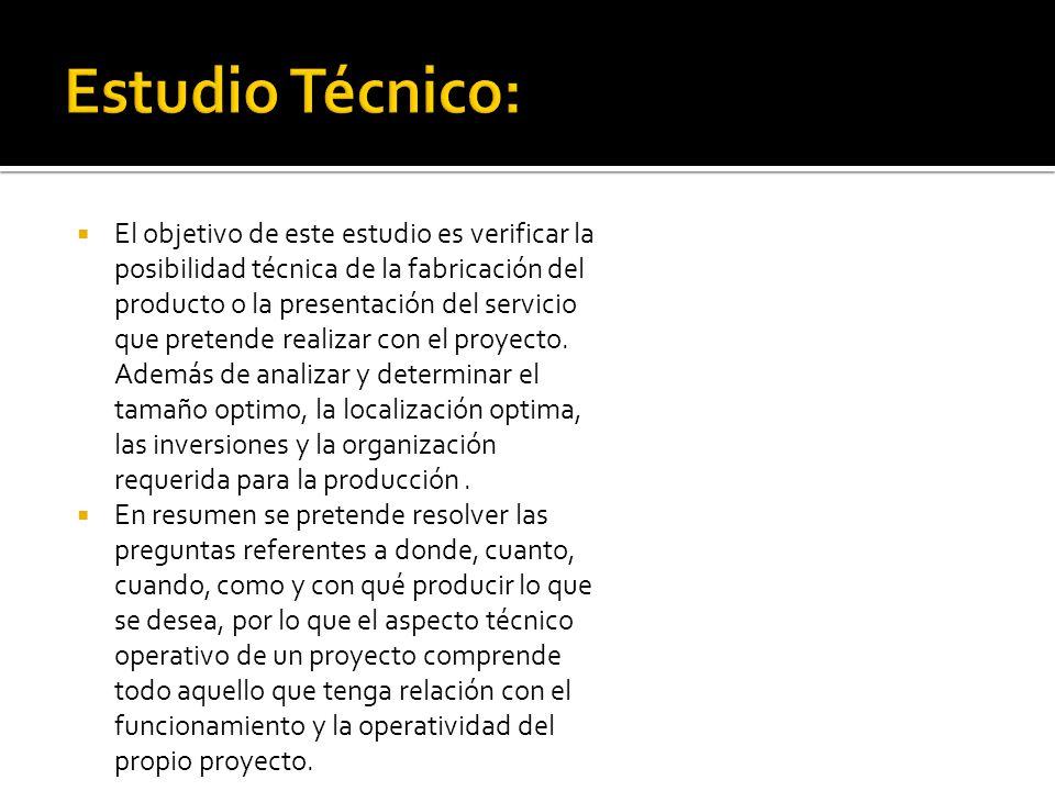 El objetivo de este estudio es verificar la posibilidad técnica de la fabricación del producto o la presentación del servicio que pretende realizar co
