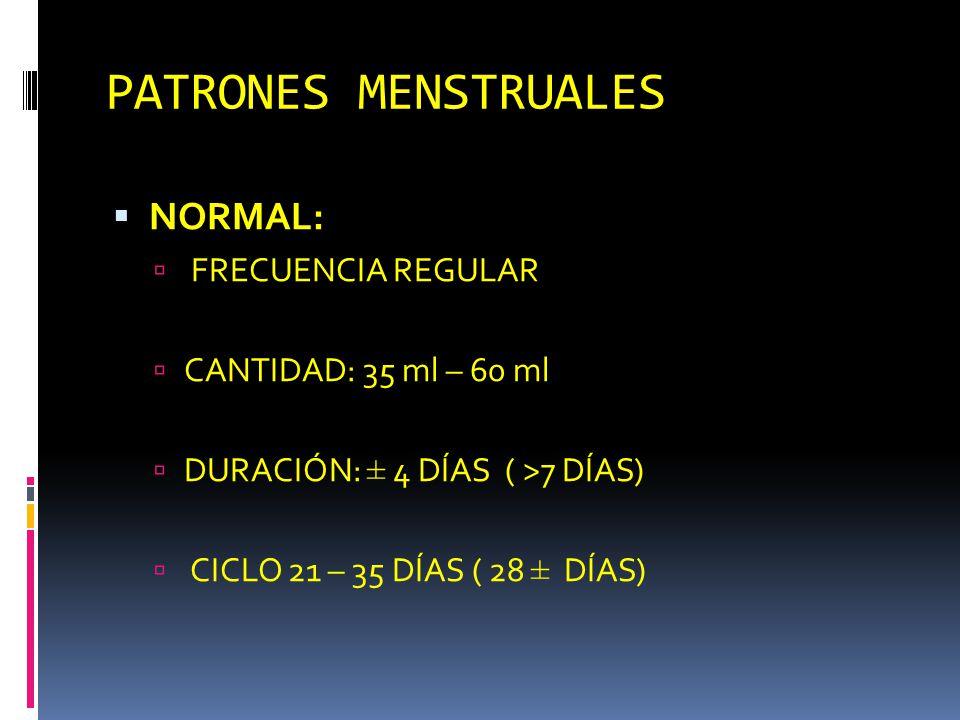PATRONES MENSTRUALES NORMAL: FRECUENCIA REGULAR CANTIDAD: 35 ml – 60 ml DURACIÓN: ± 4 DÍAS ( >7 DÍAS) CICLO 21 – 35 DÍAS ( 28 ± DÍAS)