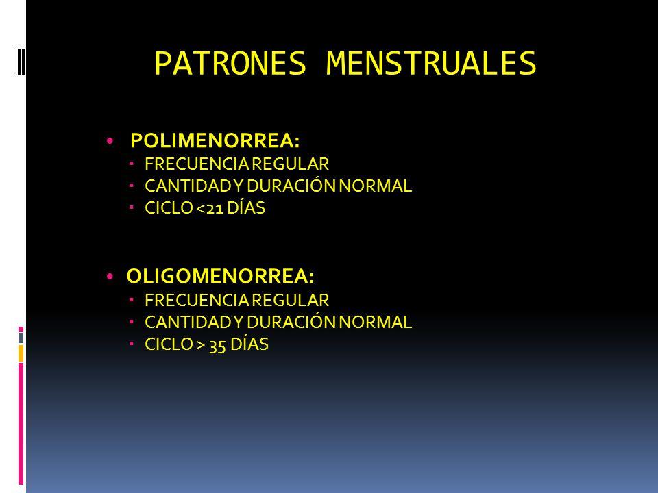 PATRONES MENSTRUALES POLIMENORREA: FRECUENCIA REGULAR CANTIDAD Y DURACIÓN NORMAL CICLO <21 DÍAS OLIGOMENORREA: FRECUENCIA REGULAR CANTIDAD Y DURACIÓN NORMAL CICLO > 35 DÍAS