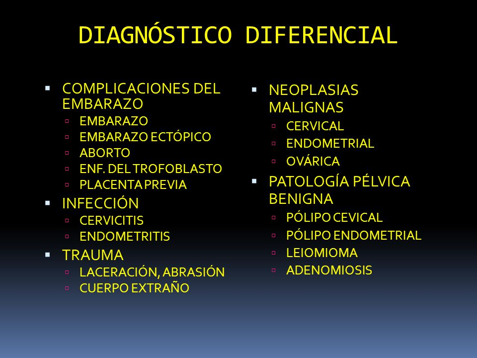 DIAGNÓSTICO DIFERENCIAL COMPLICACIONES DEL EMBARAZO EMBARAZO EMBARAZO ECTÓPICO ABORTO ENF. DEL TROFOBLASTO PLACENTA PREVIA INFECCIÓN CERVICITIS ENDOME
