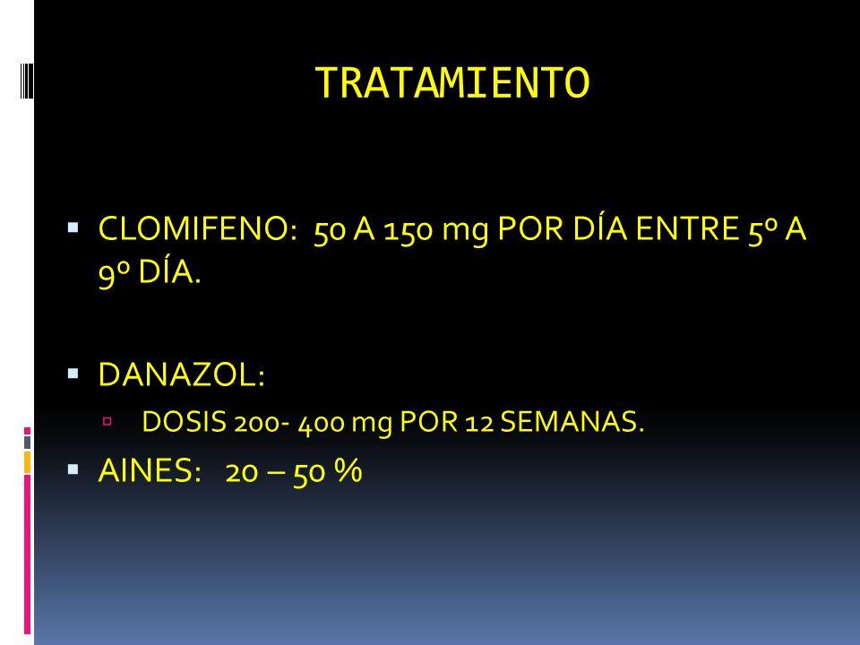 TRATAMIENTO CLOMIFENO: 50 A 150 mg POR DÍA ENTRE 5º A 9º DÍA. DANAZOL: DOSIS 200- 400 mg POR 12 SEMANAS. AINES: 20 – 50 %