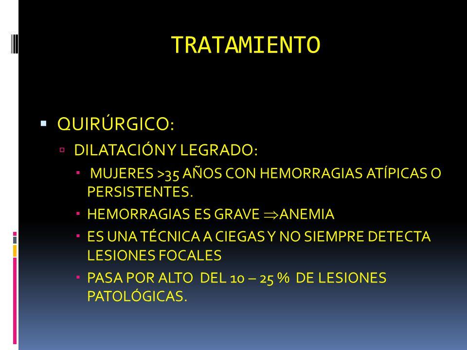 TRATAMIENTO QUIRÚRGICO: DILATACIÓN Y LEGRADO: MUJERES >35 AÑOS CON HEMORRAGIAS ATÍPICAS O PERSISTENTES. HEMORRAGIAS ES GRAVE ANEMIA ES UNA TÉCNICA A C