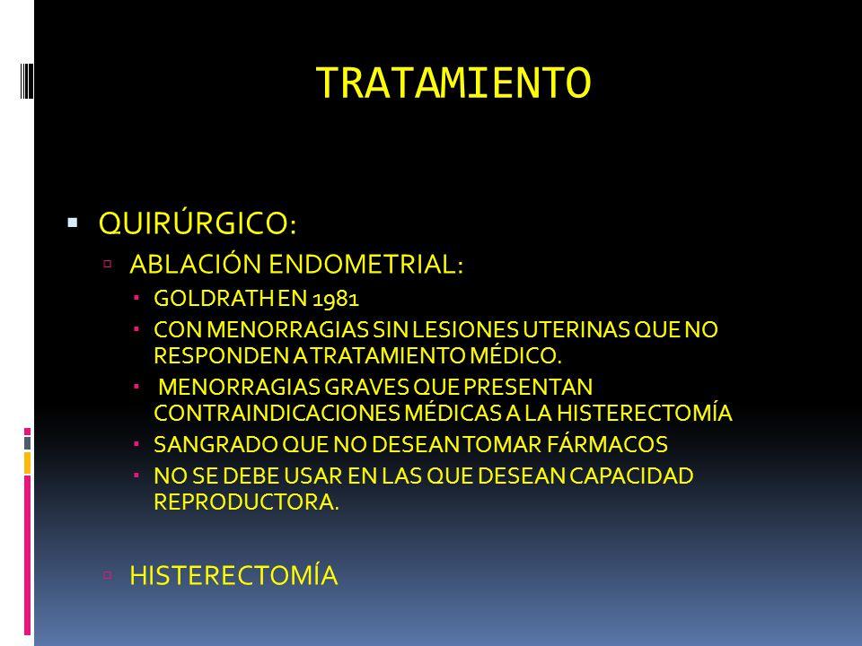 TRATAMIENTO QUIRÚRGICO: ABLACIÓN ENDOMETRIAL: GOLDRATH EN 1981 CON MENORRAGIAS SIN LESIONES UTERINAS QUE NO RESPONDEN A TRATAMIENTO MÉDICO. MENORRAGIA