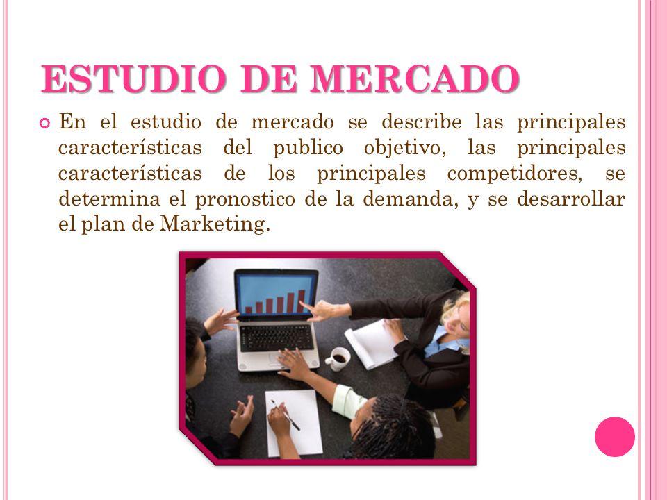 ESTUDIO DE MERCADO En el estudio de mercado se describe las principales características del publico objetivo, las principales características de los p